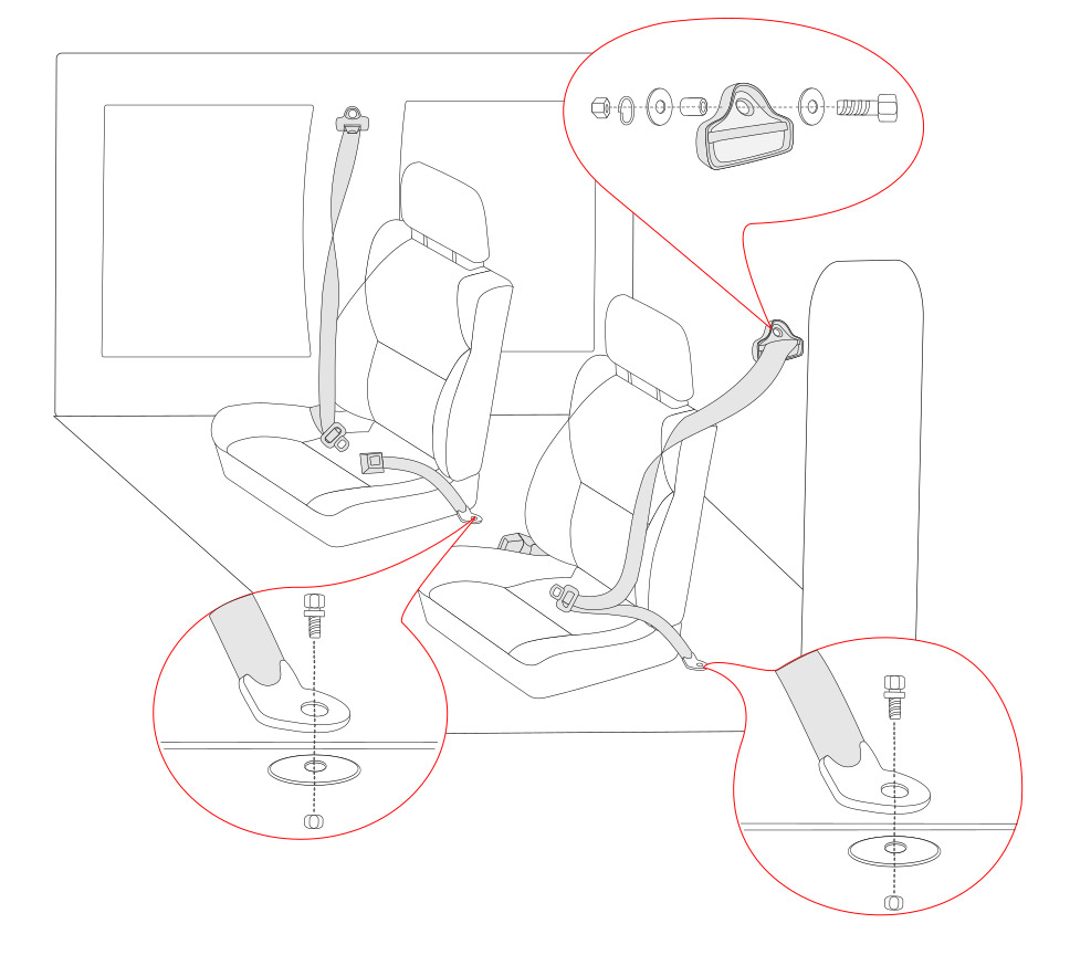 3 point retractable seat belt diagram
