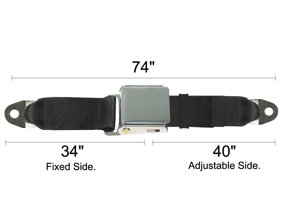 Lap Seat Belt  Chrome Lift Latch  74 Inch Length