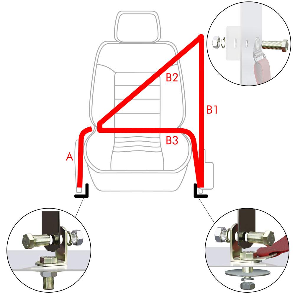 Chevy Truck 1967-1972 Standard 2pt Red Lap Bench Seat Belt Kit 3 Belts